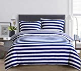 3-Piece Brushed Microfiber Reversible Duvet Cover Set with 2 Pillowcases - Double Size (200X200 CM), Navy and White Stripe by Exclusivo Mezcla