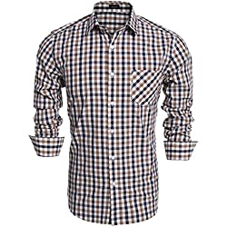 Coofandy Camisa Basica a Cuadros Marrón Manga Larga para Hombre Talla-M