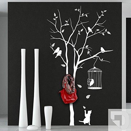 DESIGNSCAPE® Garderobe Baum mit Vogelkäfig und andersfarbigen Blättern mit 8 Garderobenhaken 87 x 160 cm (Breite x Höhe) Farbe 1: hellgrau inkl. 8 Edelstahl Wandhaken DW811006-M-F22