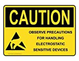 PeteGray OSHA Achtung-Schild Aluminium Blechschild Warnschilder Metall blechschild Wandschild, 20,3x 30,5cm, mit ESD/Statische Info, gelb