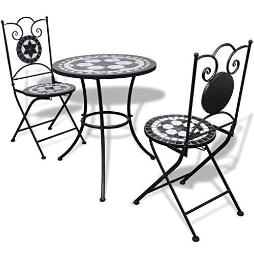 vidaXL Set de Bistro mosaïqué Table 60 cm et 2 chaises Noir/Blanc de Jardin