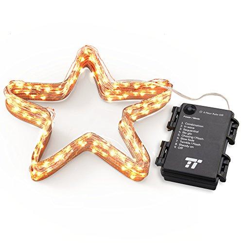 Lichterkette Batterie betrieben 50er LED TaoTronics warmweiß 5m dimbare Kupferdraht wasserdicht Sternenlicht außen und innen mit 8 Betriebsarten, Dekorative Lichter für Zimmer Pfingsten Party Hochzeit Feste