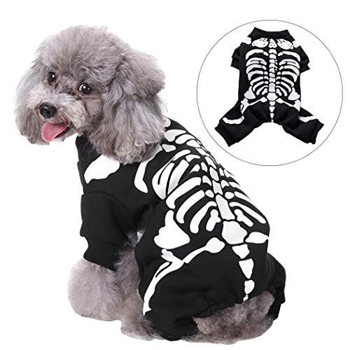 Legendog Halloween Hundebekleidung Mode Skelett Muster Haustier Kostüm Bekleidung