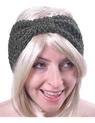 Style Nuvo - Serre-Tête Bandeau Cheveux Femme Laine Tricoté Noeud Uni Ski Couvre-Oreille Fille Large