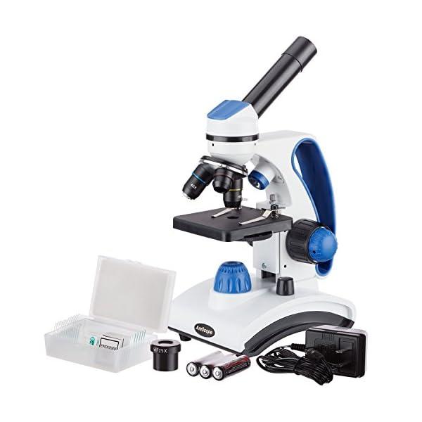AmScope M162C-2L-PB10 40X-1000X Dual Light Glass Lens Metal Frame Student Microscope + Slides