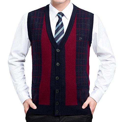 Männer Weste Cashmere Weste Sleeveless Weste V-Ausschnitt Solid Color Pullover Stricken Strickjacke Weihnachtsgeschenk,Red-L (Cashmere Herren Weste)