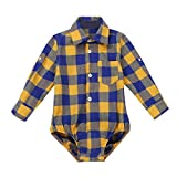 Agoky Camisa para Bebés Algodón Niños Manga Largos Botones Shirt Tops Blusa de 9-24 Meses Amarillo 24 Meses