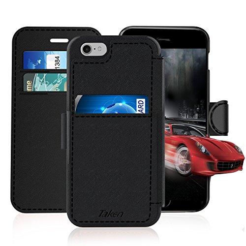 Coque iPhone 6, Taken [Etui à Rabat] Housse Portefeuille en Cuir Artificiel [Noir] pour iPhone 6 [4.7 pouces]