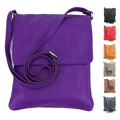 OBC italiano Piccola Borsa a tracolla Borsa di gioielli Mano Made in Italy CrossOver iPad Mini Tablet 7'' Borsa in Pelle borsa a tracolla Vera Pelle Ovye 18x22 cm (BxH) - lilla, 18x22 cm (BxH)