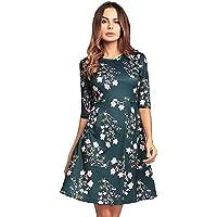 61ee852498 Onfly Women Middle Sleeve High Waist Floral A Line Skirts Short Dress Sweet  Round Neck Zipper