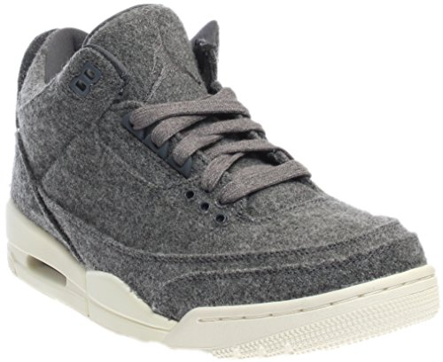 Jordan Nike Mens Air 3 Retro Wool Dark Grey/Dark Grey/Sail Basketball Shoe 10 Men US