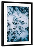 artboxONE Poster mit Rahmen schwarz 75x50 cm Eislandschaft Drohne von Triple X Adventures - gerahmtes Poster