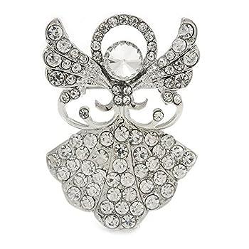 Avalaya Clear Crystal Angel Brooch In Rhodium Plating - 45mm L 0