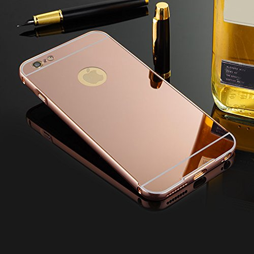 Slynmax Spiegel Design Ultradünn Metall Bumper Case Hart PC Plastik Rückschale Cover Schutzhülle für Apple iPhone SE iPhone 5/5S Hülle 2in1 Dual Layer Electroplate Handy Rückseite Anti-Scratch Case Handyhülle Transparent Crystal Clear Hybrid Heavy Duty Etui Outdoor Tasche Backcover + 1x Schwarz Eingabestift Touchstift Stylus Pen (Roségold)