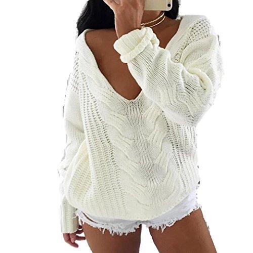 Bekleidung Longra Damen lange Ärmel V-Ausschnitt Top Pullover lose Pullover Strickwaren Outwear