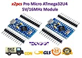TECNOIOT 2pcs Pro Micro ATmega32U4 5V/16MHz Module with Pin Header for Arduino Leonardo