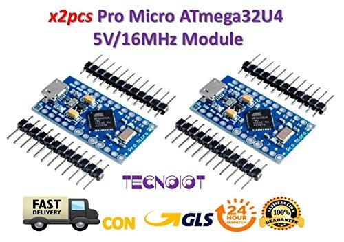 TECNOIOT 2pcs Pro Micro ATmega32U4 5V/16MHz Module with Pin Header for Arduino Leonardo|2pcs Pro Micro Módulo con ATMEGA32U4, Arduino Leonardo, 5 V, 16 MHz