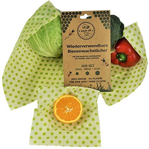 bun-di ECO 3er Set Wiederverwendbare Bienenwachstücher als umweltfreundliche Frischhaltefolie Nachhaltige Alternative zu Alu- und Plastikfolie | plastikfreie Lebensmittelverpackung (3er Set) Bun Wrap