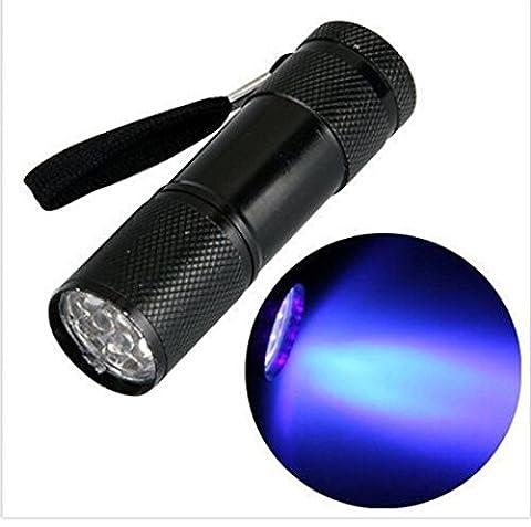 Somesun Mini Aluminium UV Ultra violet 9LED Lampe de poche lumière noire lampe torche lumière