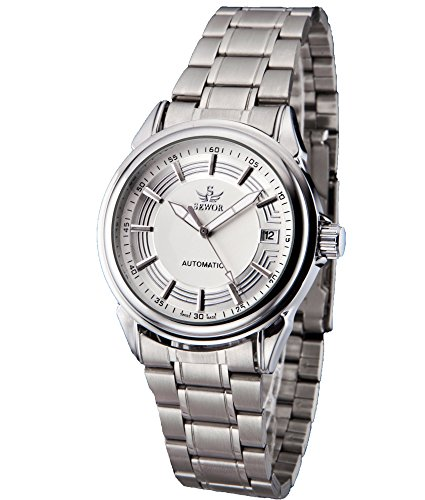 SEWOR Mens Automatic Mechanical Self Wind Wrist Watch with Vintage Design (White)