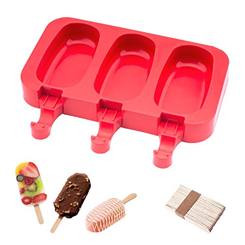 beicemania Eisformen Bpa Frei Oval Klassik Eisform Rund Rot Eisformen Silikon Mit Holz Popsicle Sticks