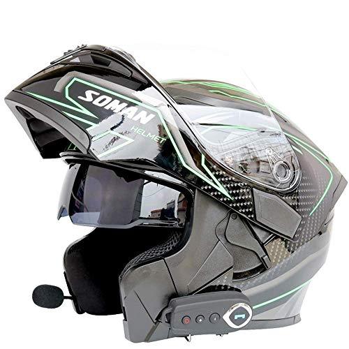 DTTN Bluetooth Motorrad-Sturzhelm, Multi-Funktions-Doppelobjektiv-Anti-Fog Unveil Breathable Walkie-Talkie Bluetooth Erwachsene Four Seasons Schutzhelm-C, L