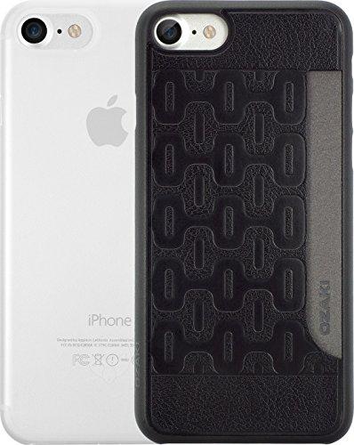 Ozaki O!Coat 0.3 Jelly & Pocket 2 in 1 Schutzhüllen Set für Apple iPhone 7 / 8 [Schwarzes Cover mit Kartenfach + und transparentes Cover | 0.3mm dünn | Extrem passgenau] - OC722KC