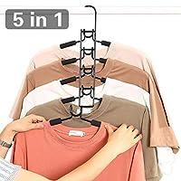 Multi Layers Clothes Hangers - 5 in 1 Anti-slip Sponge Metal Clothes Rack Wardrobe Storage Rack Multifunctional Closet Hanger Space Saving Organizer for Jacket Coat Sweater Trousers Shirt T-Shirt