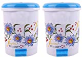 #10: Kuber Industries Floral Design 2 Piece Plastic Dustbin, Small, Blue