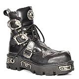 New Rock Herren Biker Rockstar Stil Stiefel Schwarz Schnürsenkel Leder Silberkreuz Design Schuhe (EU 41)