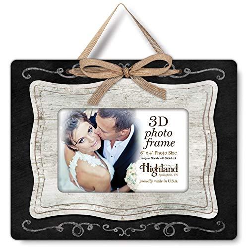 Highland Woodcrafters 3D-Bilderrahmen, rustikal, Schwarz/Weiß