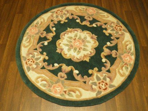 Runde chinesische Wollteppich, handgefertigt, traditionelle Design Aubusson 120 cm x 120 cm, grün
