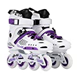 Roller blades LDM Pattini A Rotelle per Performance Indoor Femminili, Pattini Unisex per Ragazzi Bianchi Viola (Color : A, Size : EU 39/US 7/UK 6/JP 24.5cm)