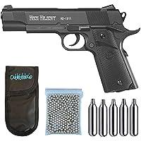 Outletdelocio., Pistola Perdigón Gamo Red Alert RD-1911. Calibre 4,5mm BBS, Funda Portabombonas, Balines y Bombonas co2, 23054/29318/38123