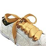 Süße breite Satinschnürsenkel für trendy Sneaker von Leisten Beiwerk - verschiedene Farben - Vintage Seidenschnürsenkel - Satin Schnürsenkel - Schuhband für Schleifenoptik (140cm, Gold)