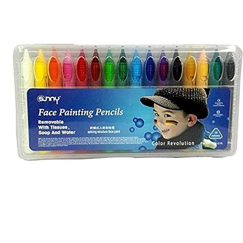 16er Schminkasten Buntstift Bodypainting Körperfarbe Gesichtsfarbe Set für Body und Facepainting Halloween Karneval Maskenspiel Make Up Schminke Palette