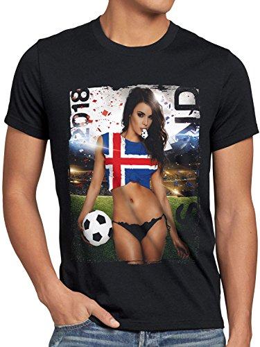 style3 WM 2018 Soccer Girl Deutschland Herren T-Shirt Fußball Trikot Germany Schwarz, Größe:S, Land:Island