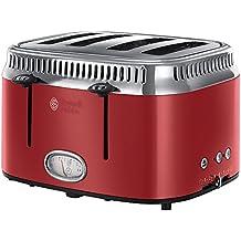 Russell Hobbs 21690-56 Retro - Tostador 4 ranuras, color rojo