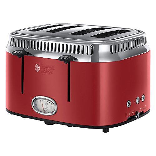 Russell Hobbs 21690-56 4-Schlitz-Toaster Retro Ribbon Red, Retro Countdown-Anzeige, Schnell-Toast-Technologie, 2400 Watt, rot