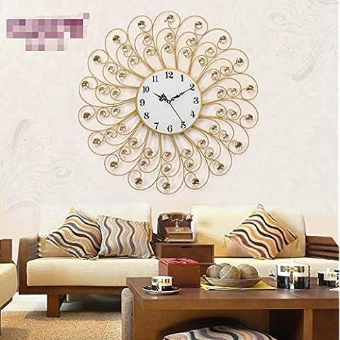 Colorido moderno elegante/Continental Anillos Anillo Silent Crystal Creative Salón Dormitorio moderno Reloj de pared/Home cocina/salón Reloj de pared