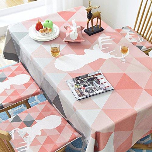 songcloth Abwaschbar Tischdecke Rechteck, Leinen Tischtuch, Rosa Pastoral Baumwolle Torte, Tisch/kaffeetisch/Garten/Party 140x140cm Ovale Torte