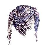 TOPKEAL Toalla Triangular para Mujer Moda Bufanda a Cuadros Tela Escocesa de Tartán Cubierta del Abrigo Invierno(Azul Marino)
