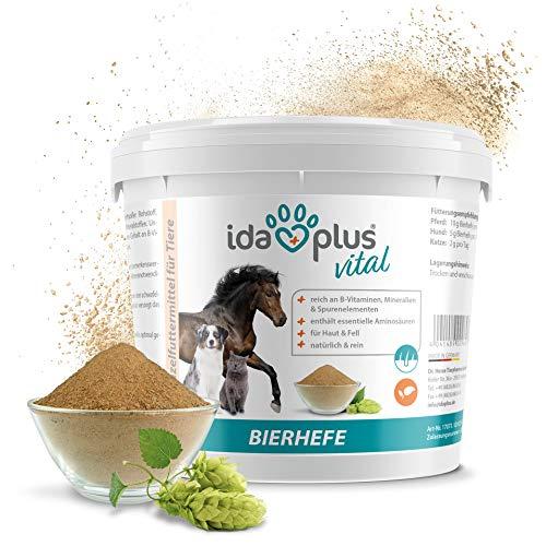 Ida Plus-Pura Cerveza Levadura Polvo-Alimentos Complemento para los & Pelo Brillo-Producto Natural para Animales-Caballos, Perros, Gatos-Práctica Cuchara dosificadora Incluye (1.5kg)