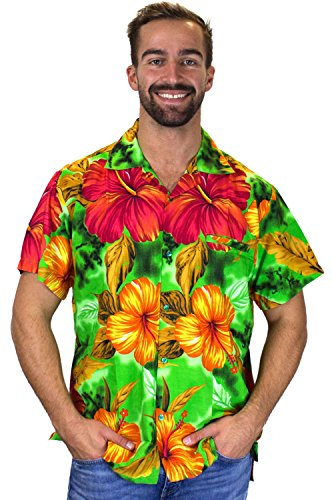 V.H.O. Funky Hawaiihemd, Kurzarm, Blume, Big Flower, grün, ()