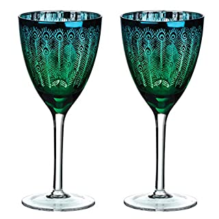 ARTLAND Set of 2 Peacock Wine, Multi-Colour