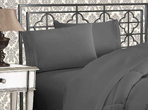 Eleganten Komfort 4-teilig 1500Fadenzahl Ägyptische Qualität Bett-Sets mit tiefen Taschen, California King, Grau