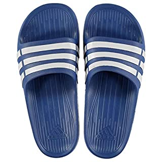 adidas Kids Duramo Junior Sliders Pool Shoes Strap Stripe Blue/White UK 4 (36.7)