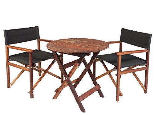 Gartenmöbel Set 'Schwarz', aus exklusivem Mahagoni Hartholz, geölt (2 XL Regiestühle und runder Gartentisch 70 cm), klappbar  - Tisch Mahagoni-holz Gartenmöbel