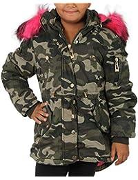 Kinder Parka Riesen Kunst Fell Kragen Pink Teddy Fleece Mantel Jacke Army  Winter KF66 d9f352493e