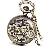 Weihnachten Lancardo Herren Vintage Motorrad Taschenuhr, Bronze Analog Quarz Hohe Openwork Uhr mit Halskette Kette Umhängeuhr Pocket Watch Geschenk